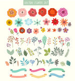 Διανυσματικό σύνολο λουλουδιών και ετικετών Στοκ Εικόνες