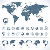 Διανυσματικό σύνολο παγκόσμιων χάρτη και σφαιρών Στοκ Εικόνες