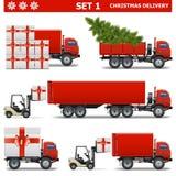 Διανυσματικό σύνολο 1 παράδοσης Χριστουγέννων Στοκ Εικόνα