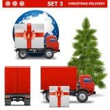 Διανυσματικό σύνολο 3 παράδοσης Χριστουγέννων Στοκ εικόνα με δικαίωμα ελεύθερης χρήσης