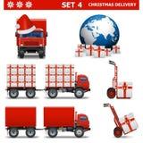 Διανυσματικό σύνολο 4 παράδοσης Χριστουγέννων Στοκ φωτογραφία με δικαίωμα ελεύθερης χρήσης
