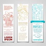 Διανυσματικό σύνολο περιγραμμένων κάθετων εμβλημάτων επιστήμης και εκπαίδευσης Στοκ εικόνες με δικαίωμα ελεύθερης χρήσης