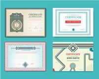Διανυσματικό σύνολο πιστοποιητικών δώρων Μεγάλος για τις βεβαιώσεις, τα διπλώματα, και τα βραβεία Πιστοποιητικό, δίπλωμα της ολοκ Στοκ εικόνες με δικαίωμα ελεύθερης χρήσης