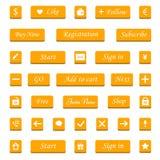 Διανυσματικό σύνολο πορτοκαλιών κουμπιών και στοιχείων Ιστού για τον ιστοχώρο σχεδίου Στοκ φωτογραφία με δικαίωμα ελεύθερης χρήσης