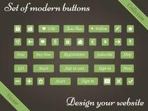 Διανυσματικό σύνολο πράσινων κουμπιών και στοιχείων Ιστού για τους ιστοχώρους σχεδίου Στοκ εικόνα με δικαίωμα ελεύθερης χρήσης