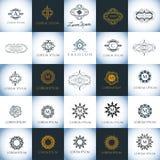Διανυσματικό σύνολο προτύπων λογότυπων πολυτέλειας Μαρκάροντας για το εστιατόριο, ξενοδοχείο, βιομηχανία μόδας Στοκ Εικόνες