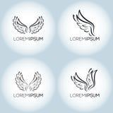 Διανυσματικό σύνολο προτύπων λογότυπων φτερών δερματοστιξιών πολυτέλειας Στοκ φωτογραφία με δικαίωμα ελεύθερης χρήσης
