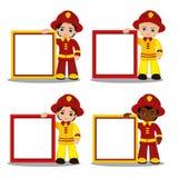 Διανυσματικό σύνολο πυροσβέστη αγοριών κινούμενων σχεδίων με το πλαίσιο Στοκ Εικόνες