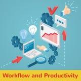 Διανυσματικό σύνολο ροής της δουλειάς και παραγωγικότητας Στοκ εικόνα με δικαίωμα ελεύθερης χρήσης
