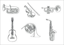Διανυσματικό σύνολο σκίτσων μουσικών οργάνων Στοκ Εικόνες