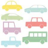 Συλλογή των σκιαγραφιών αυτοκινήτων με τα απλά σχέδια Στοκ Εικόνες