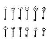 Διανυσματικό σύνολο σκιαγραφιών κλειδιών παλαιά πλήκτρα Στοκ εικόνα με δικαίωμα ελεύθερης χρήσης