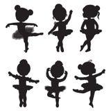 Διανυσματικό σύνολο σκιαγραφιών των μικρών ballerinas Στοκ Φωτογραφία