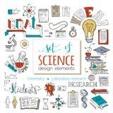Διανυσματικό σύνολο στοιχείων και εικονιδίων σχεδίου επιστήμης Στοκ Εικόνες