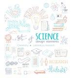 Διανυσματικό σύνολο στοιχείων σχεδίου επιστήμης doodles Στοκ Φωτογραφίες