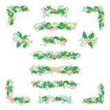 Διανυσματικό σύνολο στοιχείων σχεδίου μούρων ελαιόπρινου στο άσπρο υπόβαθρο Στοκ εικόνα με δικαίωμα ελεύθερης χρήσης