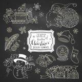 Διανυσματικό σύνολο στοιχείων σχεδίου Χριστουγέννων κιμωλίας doodles στο υπόβαθρο πινάκων Στοκ εικόνα με δικαίωμα ελεύθερης χρήσης