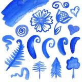 Διανυσματικό σύνολο στοιχείων watercolor Στοκ Εικόνες