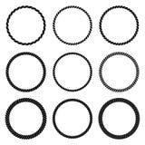 Διανυσματικό σύνολο στρογγυλού μαύρου μονοχρωματικού πλαισίου σχοινιών διανυσματική απεικόνιση