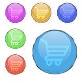Διανυσματικό σύνολο στρογγυλών καλαθιών αγορών κουμπιών Στοκ Εικόνες
