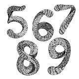 Διανυσματικό σύνολο συρμένων χέρι αριθμών Σχέδιο μελανιού Doodle που επισημαίνεται ABC για το σχέδιό σας Στοκ φωτογραφία με δικαίωμα ελεύθερης χρήσης