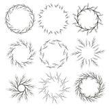 Διανυσματικό σύνολο συρμένων χέρι πλαισίων κύκλων κλάδων Στοκ Εικόνες