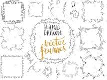Διανυσματικό σύνολο συρμένων χέρι floral πλαισίων και διακοσμητικών στοιχείων Στοκ Εικόνα