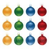 Διανυσματικό σύνολο σφαιρών διακοσμήσεων Χριστουγέννων χρώματος Στοκ Εικόνες