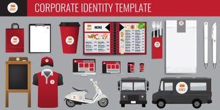 Διανυσματικό σύνολο σχεδίου προτύπων ταυτότητας τροφίμων εταιρικό Κόκκινο και μαύρο χρώμα που μαρκάρει τη διανυσματική χλεύη επάν Στοκ Εικόνα