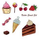 Διανυσματικό σύνολο σχεδιασμού γλυκών Στοκ Εικόνες
