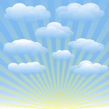 Διανυσματικό σύνολο σύννεφων, μπλε ουρανός, sunrays Στοκ Εικόνες
