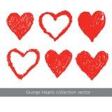 Διανυσματικό σύνολο σύστασης καρδιών Grunge Στοκ Φωτογραφίες