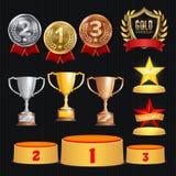 Διανυσματικό σύνολο τροπαίων βραβείων Επίτευγμα για το 1$ο, 2$ος, 3$ες τάξεις θέσεων Εξέδρα τοποθέτησης τελετής Χρυσός, ασημένιος διανυσματική απεικόνιση