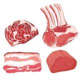 Διανυσματικό σύνολο τροφίμων κινούμενων σχεδίων Συλλογή του τυποποιημένου ακατέργαστου κρέατος Τεμαχισμένη κατάταξη του φρέσκου κ Στοκ εικόνα με δικαίωμα ελεύθερης χρήσης