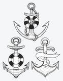 Διανυσματικό σύνολο τυποποιημένων αγκύρων σκαφών γραμμική τέχνη Συλλογή των δερματοστιξιών με μια άγκυρα Στοκ εικόνα με δικαίωμα ελεύθερης χρήσης