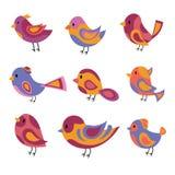 Διανυσματικό σύνολο τυποποιημένων πουλιών Μια συλλογή των πουλιών κινούμενων σχεδίων απεικόνιση παιδιών Γραφική τέχνη Περιστέρι Σ Στοκ Εικόνες
