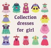 Διανυσματικό σύνολο φορεμάτων κοριτσιών μόδας Στοκ Φωτογραφία