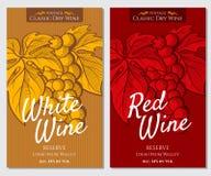 Διανυσματικό σύνολο φωτεινών ετικετών για το άσπρο και κόκκινο κρασί Στοκ Φωτογραφία