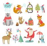Διανυσματικό σύνολο χαριτωμένων χαρακτήρων Νέα χειμερινή συλλογή Χριστουγέννων έτους Στοκ φωτογραφίες με δικαίωμα ελεύθερης χρήσης