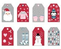 Διανυσματικό σύνολο Χριστουγέννων και νέων ετικεττών δώρων έτους Στοκ εικόνα με δικαίωμα ελεύθερης χρήσης