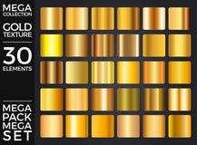 Διανυσματικό σύνολο χρυσών κλίσεων, χρυσή συλλογή τετραγώνων, ομάδα συστάσεων Στοκ Εικόνες