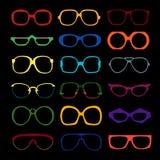 Διανυσματικό σύνολο χρωματισμένων γυαλιών Αναδρομικός, geek Στοκ Φωτογραφία