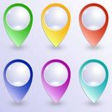 Διανυσματικό σύνολο χρωματισμένων καρφιτσών χαρτών Στοκ Εικόνες