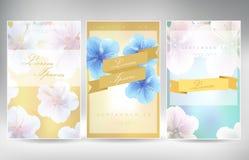 Διανυσματικό σύνολο ύφους λουλουδιών στοιχείων και εικονιδίων σχεδίου για τη συσκευασία Στοκ Εικόνες