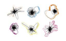 Διανυσματικό σύνολο doodles με τα κτυπήματα χρώματος Στοκ εικόνα με δικαίωμα ελεύθερης χρήσης