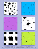 Διανυσματικό σύνολο 6 handdrawn άνευ ραφής σχεδίων Στοκ Εικόνα