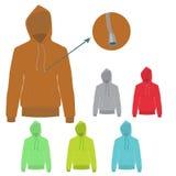 Διανυσματικό σύνολο Hoodie με το στερεό και επίπεδο σχέδιο χρώματος Στοκ φωτογραφία με δικαίωμα ελεύθερης χρήσης