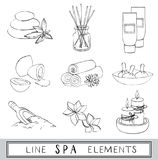 Διανυσματικό σύνολο line spa εικονιδίων σκίτσο Στοκ εικόνες με δικαίωμα ελεύθερης χρήσης