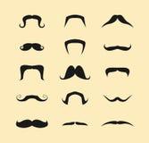 Διανυσματικό σύνολο Mustaches Στοκ Εικόνες