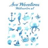 Διανυσματικό σύνολο watercolor διακοπών θάλασσας Στοκ Εικόνα